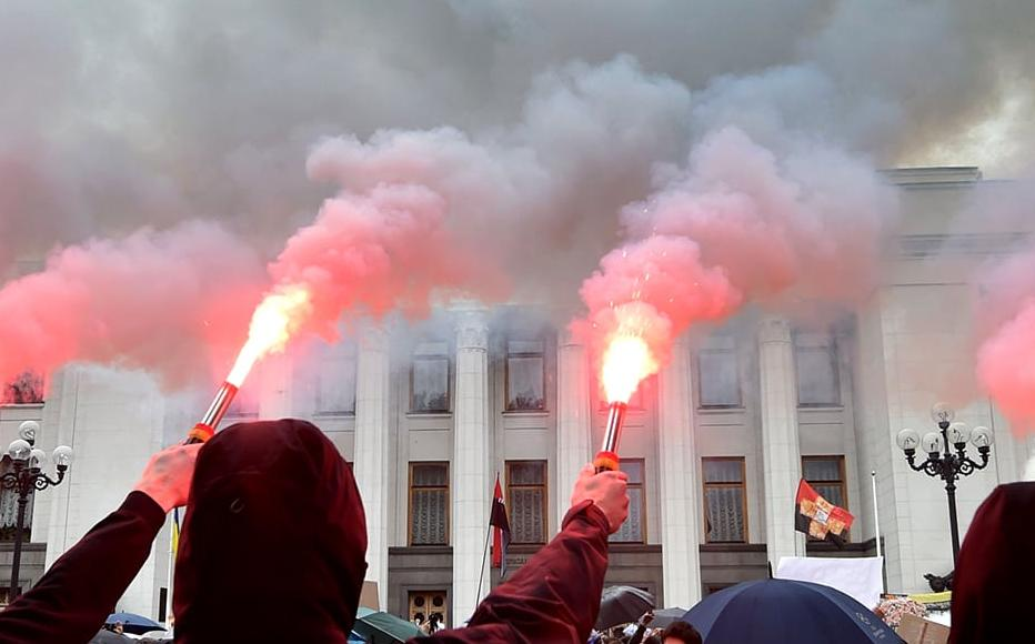 Demonstrations outside Ukrainian parliament in Kiev on June 5, 2020 calling for the Interior Minister's resignation over corruption allegations.