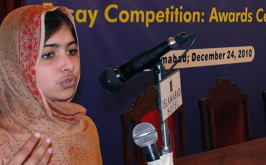 Malala Yousafzai attends an Open Minds project awards ceremony in Islamabad, December 2010.