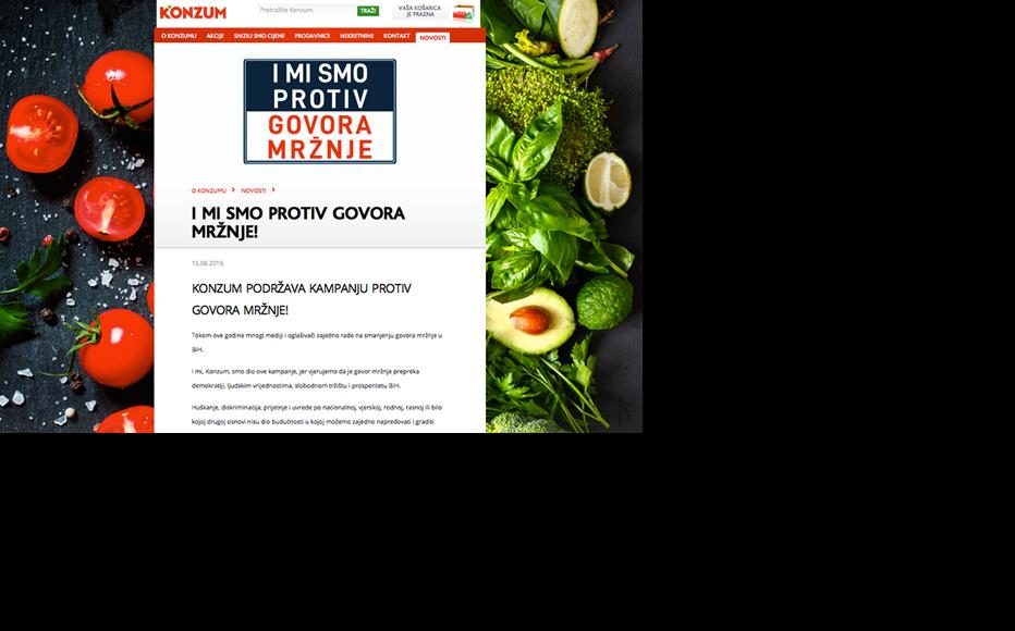 """Campaign's banner """"We Too Are Against Hate Speech"""" on Konzum's website, one of the biggest retail chains in Bosnia."""