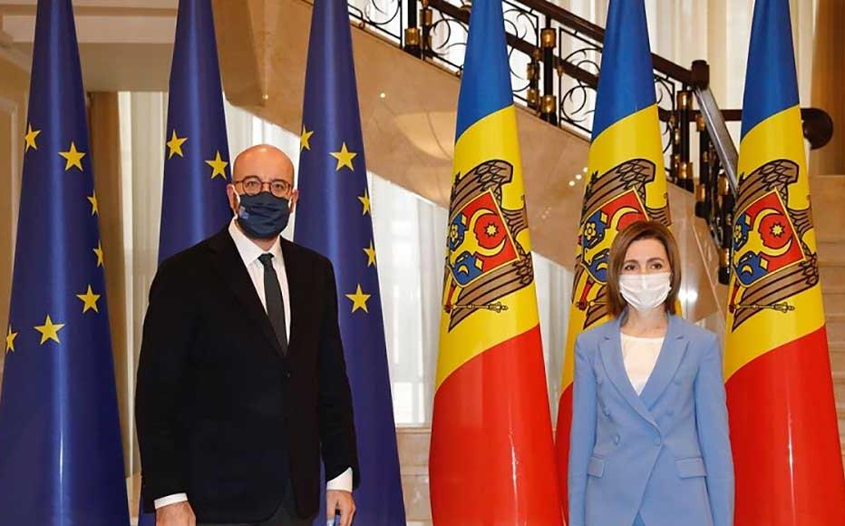 President Maia Sandu after a meeting with Charles Michel, The President of the European Council.