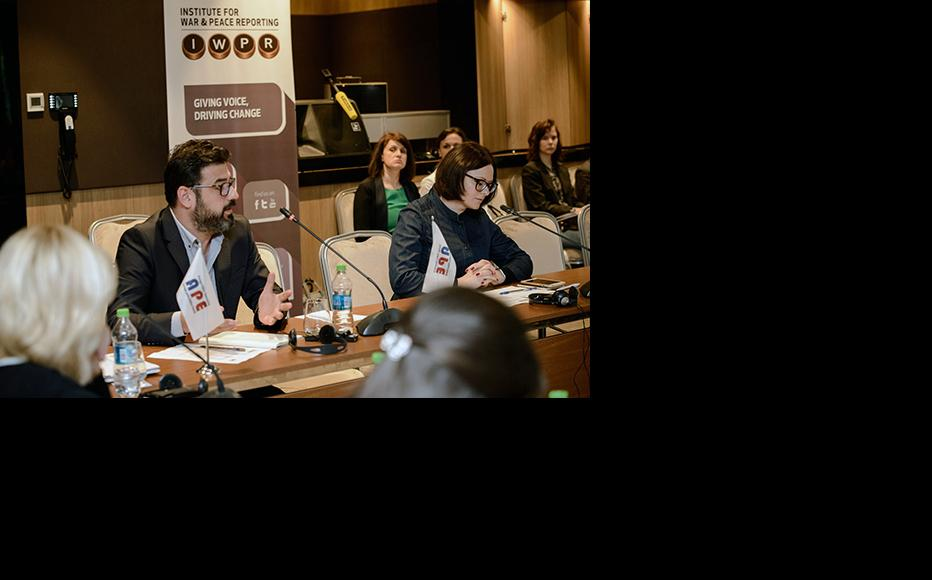 May 30, 2019, Chisinau, Moldova: Beka Bajelidze, IWPR Caucasus and Moldova Programme Director and Victoria Bucataru, Executive Director of Foreign Policy Association (APE) opening high profile discussion in Chisinau on hybrid threats in Moldova and Ukraine. (Photo: IWPR)