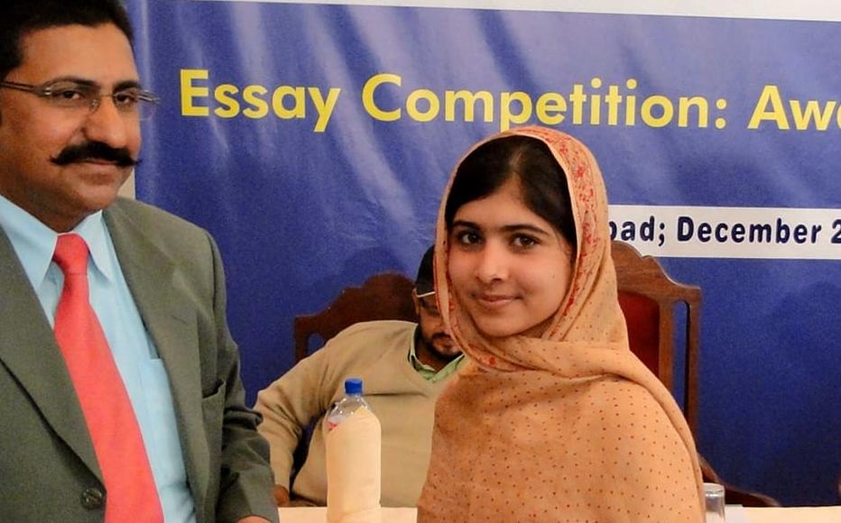 Malala Yousafzai attends the prize-giving for an essay-writing competition, December 2010.