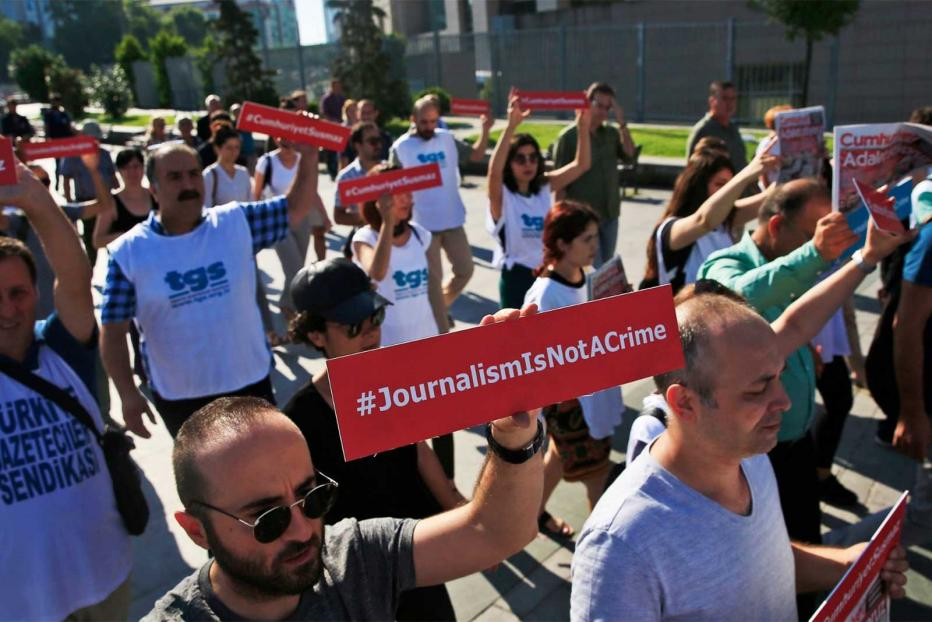 Journalists protesting against frequent arrests of media professionals in Turkey.