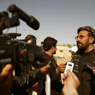 Abdul Zahir, appointed as the new civilian chief in Marjah talks to the media in the southern province of Helmand of Marjah, Afghanistan.
