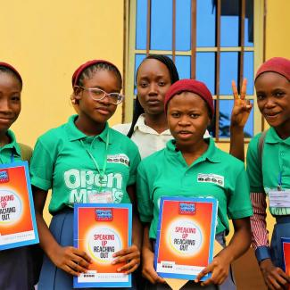 Open Minds Nigeria project trainees at an event held in May 2018.