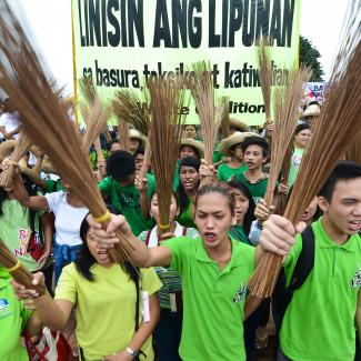 Filipino citizens protesting against the misuse of Philippine state funds during a rally in Luneta Park in Manila, Philippines.