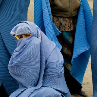 An Afghan woman in central Kabul, Afghanistan.