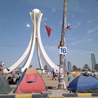Protesters camped out infront of Pearly square on March 4, 2011, days before the demonstration was broken up. (Photo: Justin Ormont/Wikimedia)