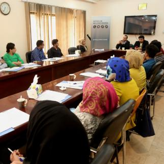 One of the training sessions in the IWPR Baghdad office. (Photo: IWPR)