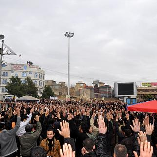 Protests on February 22 in the centre of Sulaimaniyah, which demonstrators have dubbed Freedom Square. (Photo: Ara Ibrahim)