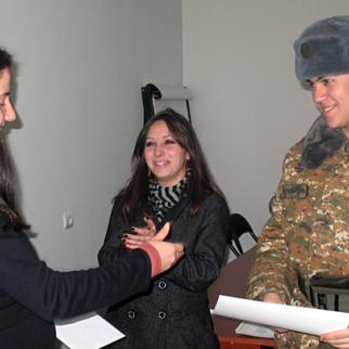 First place in IWPR Armenia journalism contest went to Suren Stepanyan, who had joined the army since submitting his entry. (Photo: IWPR)
