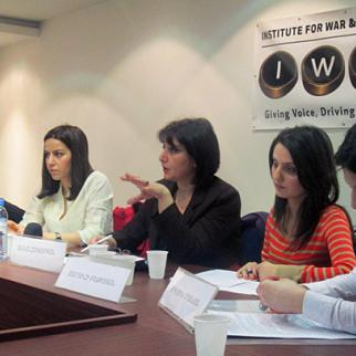 Participants in a discussion on disability awareness and legislation, Yerevan, March 15, 2013. (Photo: IWPR)